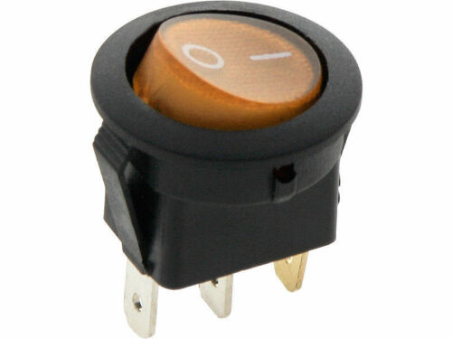 ROUND Rocker Switch 6.5A 240V ORANGE ON-OFF Double Pole 3 Pin ILLUMINATED