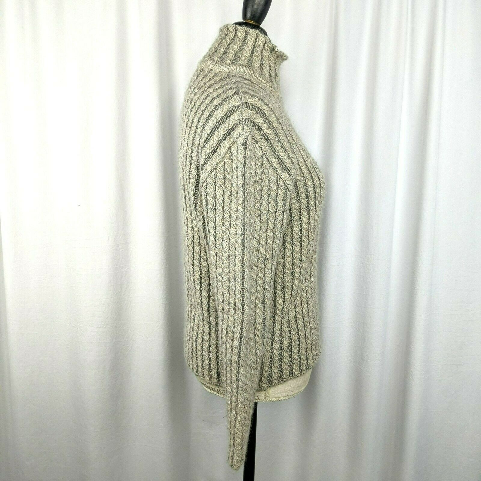 Inis Meain Gray Beige Alpaca Cable Knit Sweater S… - image 6