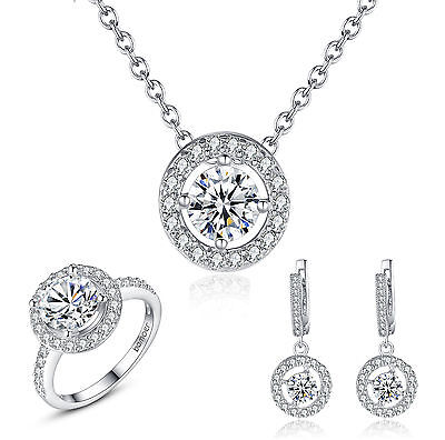 Luxury Platinum Plated Necklace Bracelt Rings With Zircon Jewelry Sets Wedding