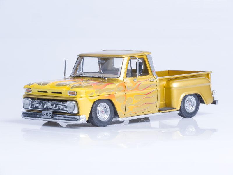 Scale model 1 18  1965 Chevrolet C-10 Stepside Pickup Lowrider - Metallic gold