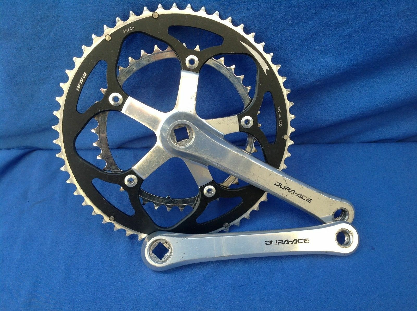 VINTAGE SHIMANO DURA ACE CRANKSET 7402 DOUBLE 172.5   175MM MM 39-55T GOOD CDN