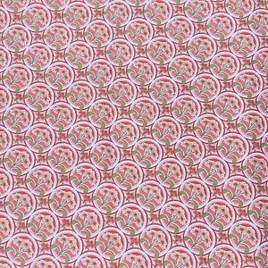 Daisy-Floral-Geometric-Cotton-Drill-Sewing-Craft-Fabric-Salmon-Red-Pink