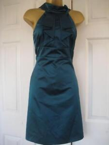 DF196 KAREN MILLEN BNWT UK 14 Teal SATIN Elegant Low Back Satin Cocktail Dress