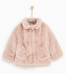 439746a2c802 New Zara Baby Girl Faux Fur Coat Collar Jacket 9-12m Bonpoint