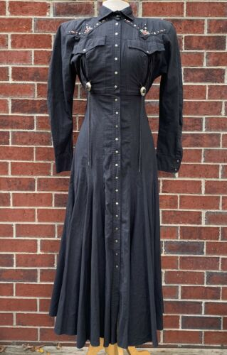 Vintage Karen Alexander Western Prairie Dress Blac