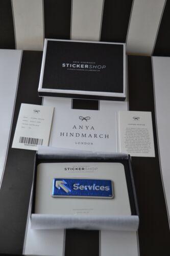 Anya boîte services Capra bleu autocollant avec cuir Hindmarch Nouvel en métallisés en 4qwpc