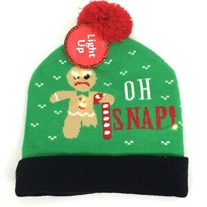 Ugly Christmas Sweater Light Up Beanie Hat Oh Snap Winter Nwt