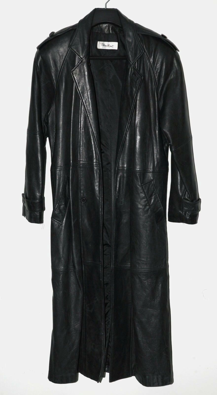 WOMENS PHILIPPE MONET LEATHER  COAT. SIZE 36.. BLK. RARE VINTAGE FIND
