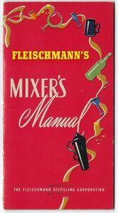 Vintage Bar Guide Cocktail Book MIXER'S MANUAL Fleischmann's Distilling Corp