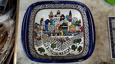 """Fish Bowl Diameter: 7.09/"""" // 18 cm Armenian Ceramic Made in Israel,Jerusalem"""