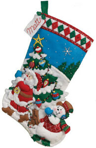 BUCILLA-FELT-APPLIQUE-CHRISTMAS-STOCKING-16-034-PICK-A-TREE-86440