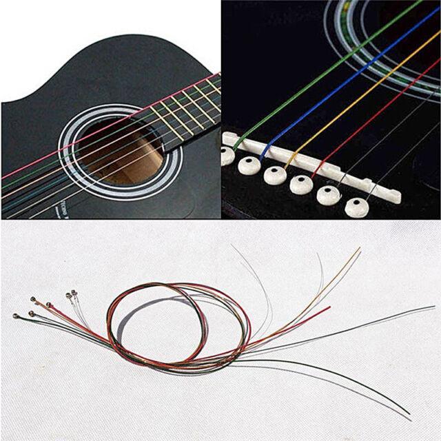 Acoustic Guitar Strings Guitar Strings One Set 6Pcs Rainbow Colorful Color JCFS