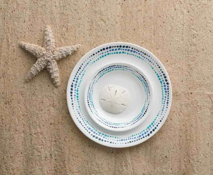 Dish Set Corelle Ocean bluees, 12 Piece Set, for 4 Persons, unkaputtbar