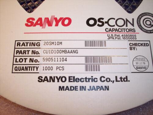 QTY 10uf 20V 105/' OS-CON HORIZONTAL SMD CAPACITORS 20SM10M SANYO 50