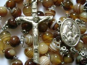 Rare-Natural-Carnelian-Agate-ROSE-BEADS-ROSARY-amp-CROSS-Catholic-necklace