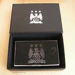 Manchester city football club business card holder gift set man city image is loading manchester city football club business card holder gift reheart Images