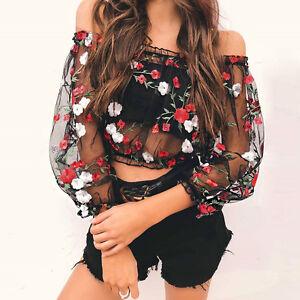 Bordado Transparente Para Dama Blusas Flores Malla Camisas Brillos bf7vy6Yg