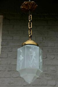 Rare-french-art-deco-verre-grave-gratte-ciel-Lanterne-Lampe-Lustre-Putti