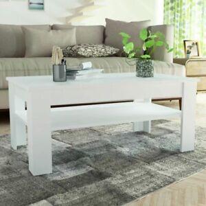 vidaXL-Coffee-Table-Chipboard-110x65x48cm-White-Side-Living-Room-Plant-Stand