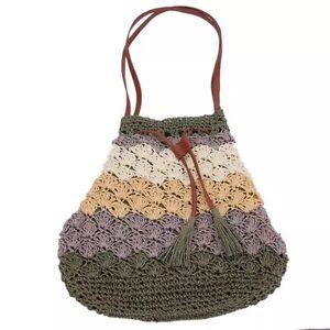 Handmade Green Bucket StyleMulicolor Bohemian Straw Shoulder Handbag 0OPNkXw8n