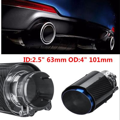 1x 63mm Inlet Gloss Carbon Fiber Exhaust Tip Universal Car Tailpipe Blue Steel