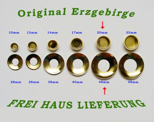 Kerzentüllen m.Tropfenfänger 20mm Messingoptik Kerzenhalter Erzgebirge