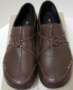 Clarks-Womens-Wave-Walk-Run-7-5-M-Brown-Leather-Slip-On-Loafer-Casual-Comfort