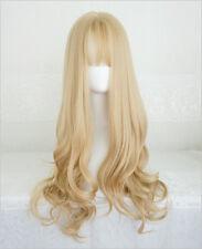 Long Curly Fluffy Blond Korea Style Sweet Cute Air Bangs Full Wig+Free Wig Cap