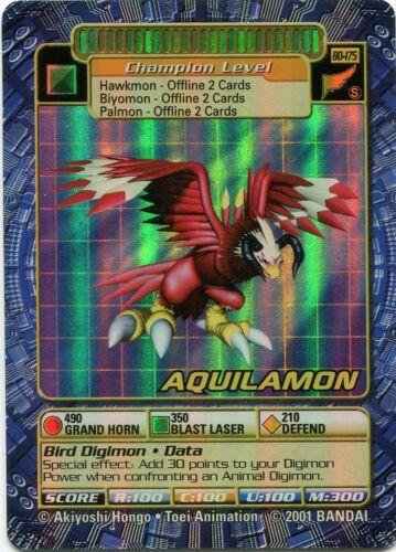Aquilamon BO-175 Holo Foil Digimon Card Booster Series 4 2001 NM-MT
