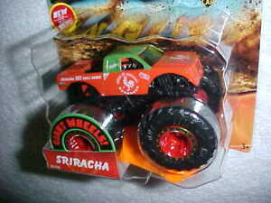 "2019 HW MONSTER TRUCKS ""SRIRACHA"" w/CONNECT & CRASH CAR VHTF 1/64 HOT WHEELS"