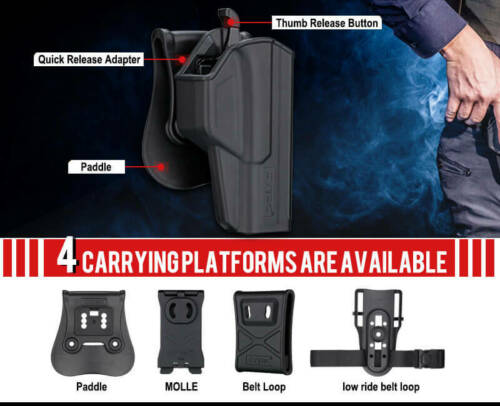OWB PADDLE HOLSTERS-LEVEL2 THUMB SMART-KYDEX-CZ USA P-10C W// FREE MAG POUCH