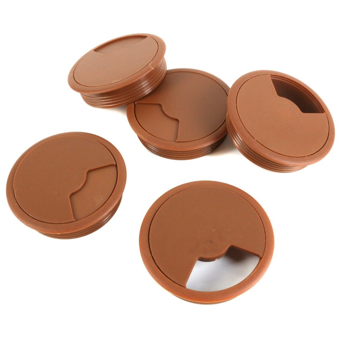 5x BROWN TABLE GROMMETS 80mm PC Computer TV Speakers Media Monitor Cable Tidy UK