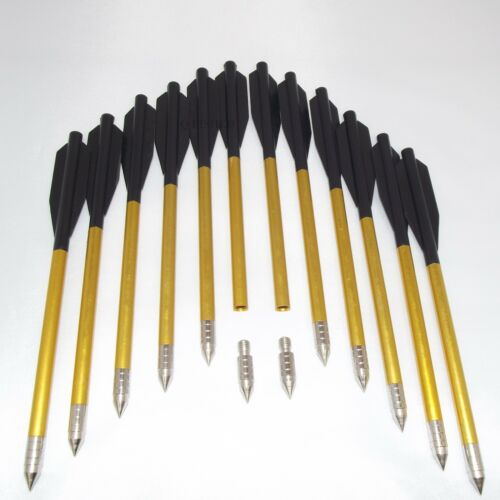 "12 X 6.5/"" Pistol Crossbow Bolts Aluminium Alloy Steel Tips HUNTING ARROWS"