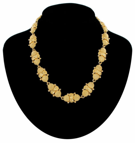 """Vintage Necklace Collar Link Gold Tone Threadwrapped Button Look Metal 18/"""""""
