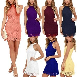 Cold-Shoulder-Lace-Dress-womens-Vintage-Crochet-Prom-party-Clubwear-Size-6-22