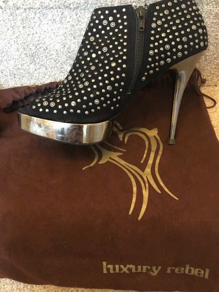 Luxury Rebel Keisha studded suede schwarz suede studded high heel Schuhes   Größe 40 Dustbag d34e69