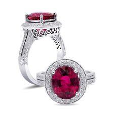 Rubellite Ring 4.59carat Vivid Pink Color Gemstone Diamonds 0.45ct 18K WhiteGold