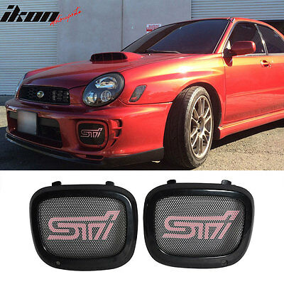 Fit For 02-03 Subaru Impreza WRX Sti Pink JDM Mesh Fog Lights Cover Black ABS