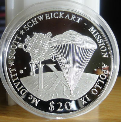 Coins: World Apollo Ix Let Our Commodities Go To The World Hearty Liberia 2000 Large .999 Silver Proof $20-space