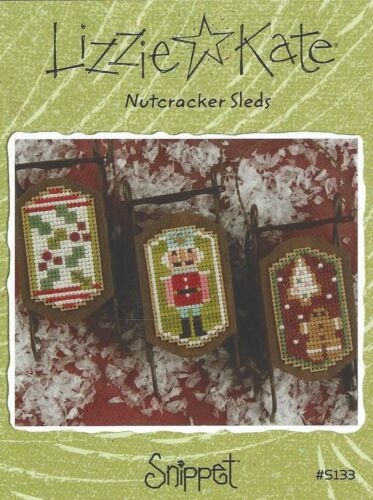 Beads Buttons Charm Christmas Lizzie Kate Nutcracker Sleds Cross Stitch Charts