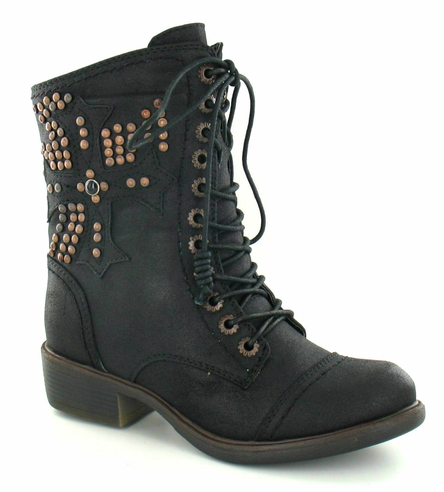 """*SALE* Spot On F50171 Ladies Black Synthetic 1.5"""" Block Ankle Boots"""
