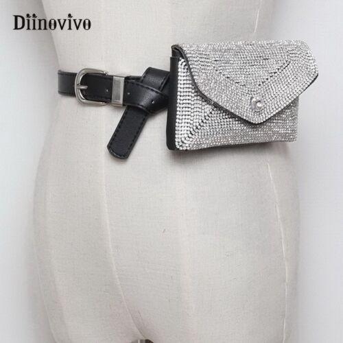 DIINOVIVO Luxury Designer Fanny Pack Tassel Rhinestone Women Waist Bag Money