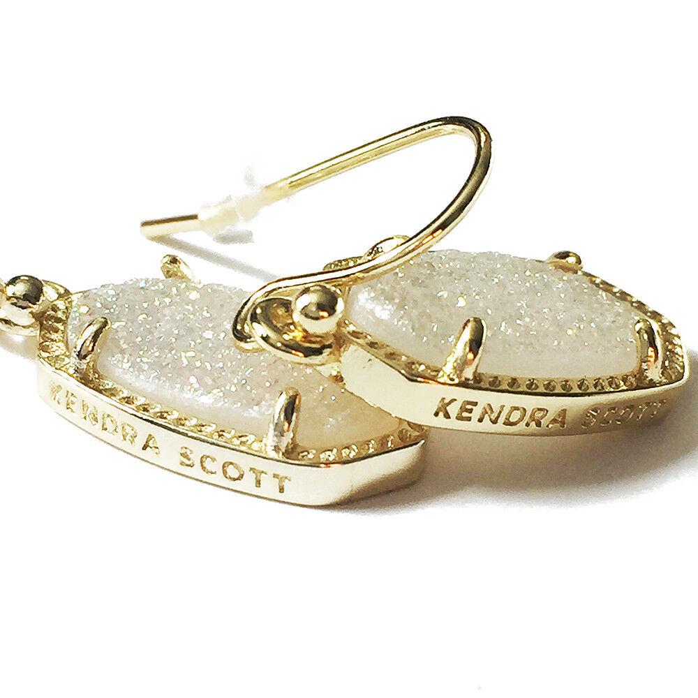 NEW  Kendra Scott Lee gold Iridescent Druzy Quartz Earrings & Dust Cover