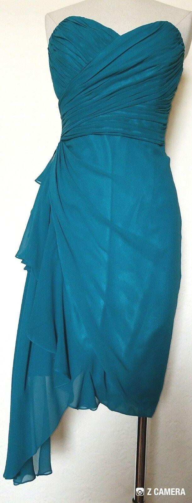 Badgley Mischka Turquoise Silk Side Side Side Sash Halter Dress Size 8 Show Stopper  448255