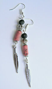 *top Indianer Schmuck Ohrringe Lavasteine- Rosa Perlen - 925er Silber Haken Neu Rohstoffe Sind Ohne EinschräNkung VerfüGbar