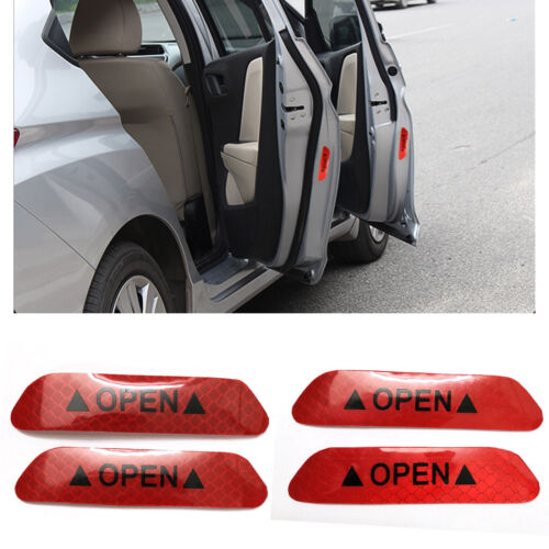 4x Red Safety Reflective Tape Open Sign Warning Mark Car Door Sticker Decal