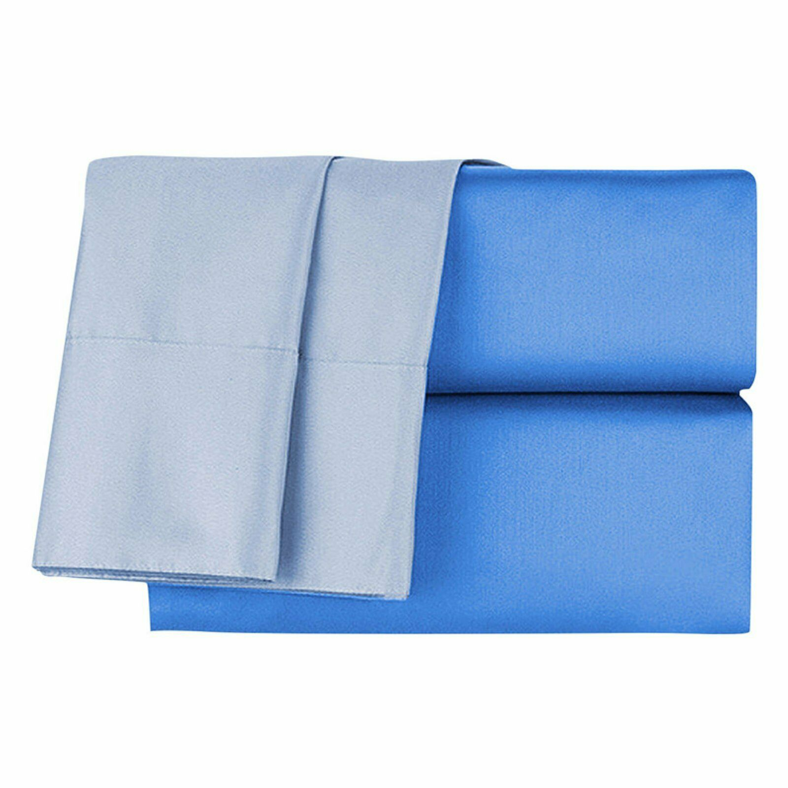 bluee 500 TC Reversible 100% Cotton 4PC Queen Sheet Set 16  Deep Hypoallergenic