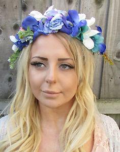 Blue White Purple Rose Flower Hair Crown Headband Garland Daisy ... d214e49e907