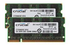 Crucial RAM DDR2 4GB Kit 2x 2GB PC2-5300S 667MHz CL5 200PIN Sodimm Laptop Memory