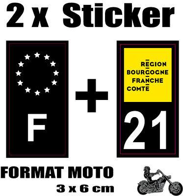2 Stickers Style Plaque Moto 3x6 Cm Black F étoiles Blanches + Département 21 Aangenaam Om Te Proeven